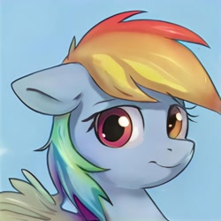 Size: 1024x1024   Tagged: safe, artist:thisponydoesnotexist, oc, oc only, pegasus, pony, artificial intelligence, blue background, female, heterochromia, mare, multicolored hair, neural network, not rainbow dash, rainbow hair, simple background, solo