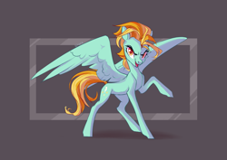 Size: 4093x2894 | Tagged: safe, artist:shore2020, artist:shore70365680, lightning dust, pegasus, pony, abstract background, female, looking at you, mare, raised hoof, smiling, solo, spread wings, wings