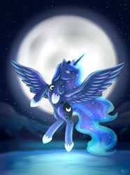 Size: 900x1212 | Tagged: safe, artist:luna-hime-sama, princess luna, alicorn, pony, eyes closed, female, flying, full moon, glowing horn, horn, mare, moon, night, profile, raising the moon, sky, solo, spread wings, stars, wings