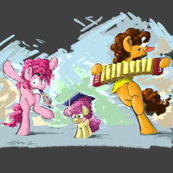 Size: 2000x2000 | Tagged: safe, artist:th3ipodm0n, cheese sandwich, li'l cheese, pinkie pie, earth pony, the last problem, abstract background, accordion, atg 2020, bipedal, cheesepie, family, female, graduation cap, hat, male, mare, musical instrument, newbie artist training grounds, shipping, smiling, stallion, straight, trio