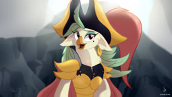 Size: 3840x2160   Tagged: safe, artist:zidanemina, captain celaeno, anthro, bird, parrot, my little pony: the movie, admiral, beauty mark, clothes, cute, ear piercing, female, open mouth, piercing, solo