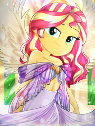 Size: 1800x2400 | Tagged: safe, artist:artmlpk, sunset shimmer, equestria girls, adorable face, adorasexy, adorkable, alternate hairstyle, angel, angelic wings, armor, bare chest, bare shoulders, beautiful, clothes, cute, digital art, dork, dress, female, goddess, greek, greek clothing, greek goddess, hair, halo, hips, leaves, lidded eyes, light, looking at you, plant, see-through, sexy, shimmerbetes, smiling, smiling at you, solo, sun rays, sunflare, sunset, thighs, watermark, wings