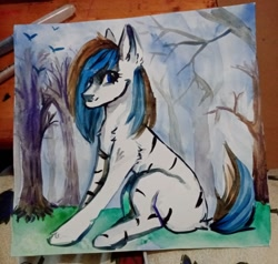 Size: 1080x1030 | Tagged: safe, artist:ske, oc, earth pony, hybrid, zebra, solo, traditional art, watercolor painting