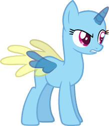 Size: 1027x1178 | Tagged: safe, artist:pegasski, oc, oc only, alicorn, pony, stranger than fan fiction, alicorn oc, bald, base, eyelashes, horn, simple background, solo, suspicious, transparent background, two toned wings, wings