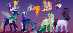 Size: 2500x1162 | Tagged: safe, artist:bunnari, adagio dazzle, discord, fluttershy, lord tirek, rarity, star swirl the bearded, starlight glimmer, thorax, oc, changepony, hybrid, pony, discoshy, female, glimax, interspecies offspring, male, offspring, parent:adagio dazzle, parent:discord, parent:fluttershy, parent:lord tirek, parent:rarity, parent:star swirl the bearded, parent:starlight glimmer, parent:thorax, parents:discoshy, parents:glimax, parents:rarirek, rarirek, shipping, straight