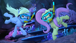 Size: 3840x2160 | Tagged: safe, artist:owlpirate, derpy hooves, fluttershy, pegasus, 3d, bubble, crepuscular rays, diving goggles, sfm pony, snorkel, source filmmaker, underwater, water