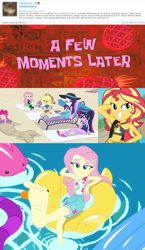 Size: 744x1287 | Tagged: safe, edit, edited screencap, editor:grapefruitface, screencap, applejack, fluttershy, pinkie pie, rainbow dash, rarity, sci-twi, sunset shimmer, twilight sparkle, equestria girls, equestria girls series, forgotten friendship, i'm on a yacht, spoiler:eqg series (season 2), aged like milk, barefoot, belly button, clothes, collage, derpibooru comments, feet, flutterfeet, mane six, proven wrong, spongebob squarepants, spongebob time card, swimsuit