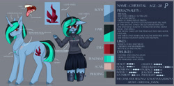 Size: 6378x3150   Tagged: safe, artist:chrystal_company, oc, oc only, oc:nightmare chrystal, anthro, pony, unicorn, arm hooves, clothes, colored hooves, crystal, female, jewelry, mare, necklace, open mouth, reference sheet, shrug, skirt, tongue out