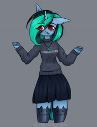 Size: 2047x2677   Tagged: safe, alternate version, artist:chrystal_company, oc, oc only, oc:nightmare chrystal, anthro, unicorn, arm hooves, clothes, colored hooves, female, gray background, jewelry, mare, necklace, shrug, simple background, skirt, solo, tongue out