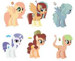Size: 1152x940 | Tagged: safe, artist:somecoconut, oc, oc only, oc:apple wildfire, oc:mozzarella macaroni, oc:princess whistling cosmos, oc:soft slice, oc:star glamour, oc:typhoon everwing, dracony, earth pony, hybrid, pegasus, pony, unicorn, alicorn wings, dragon tail, earth pony oc, female, hat, horn, interspecies offspring, mare, next generation, offspring, parent:applejack, parent:big macintosh, parent:cheese sandwich, parent:dumbbell, parent:fluttershy, parent:pinkie pie, parent:rainbow dash, parent:rarity, parent:spike, parent:sunburst, parent:thunderlane, parent:twilight sparkle, parents:applespike, parents:cheesepie, parents:dumbdash, parents:fluttermac, parents:rarilane, parents:twiburst, pegasus oc, simple background, spread wings, unicorn oc, white background, wings