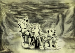 Size: 1280x909 | Tagged: safe, artist:moonlightfan, oc, oc:dragonfly, oc:jitters, oc:rex, diamond dog, hellhound, pegasus, pony, unicorn, fallout equestria, armor, cloud, cloudy, fanfic art, monochrome, pipbuck, wasteland