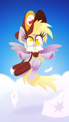 Size: 1440x2560 | Tagged: safe, artist:hazelnoods, artist:jw_cartoonist, derpy hooves, pegasus, pony, cloud, collaboration, cute, derpabetes, ear fluff, female, flying, hat, letter, looking at you, mailmare, mailmare hat, mailmare uniform, mare, no pupils, pacman eyes, sky, solo