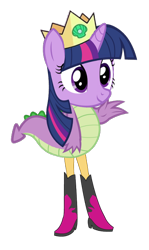 Size: 386x647 | Tagged: safe, spike, sunset shimmer, twilight sparkle, abomination, crown, fusion, jewelry, legs, majestic as fuck, not salmon, regalia, simple background, smiling, standing, tail, transparent background, wat, waving, we have become one, what has science done