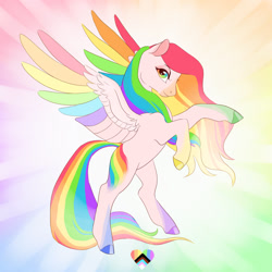 Size: 1280x1280 | Tagged: safe, artist:creeate97, oc, oc only, pegasus, pony, bipedal, colored hooves, colored wings, heart, multicolored hair, multicolored wings, pride, rainbow hair, rainbow wings, rearing, solo, wings