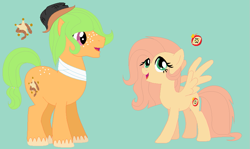 Size: 873x519 | Tagged: safe, artist:somecoconut, oc, oc only, oc:sherif amo poma, oc:soft slice, earth pony, pegasus, pony, base used, blue background, brother and sister, cutie mark, earth pony oc, female, freckles, hat, male, mare, offspring, parent:big macintosh, parent:fluttershy, parents:fluttermac, pegasus oc, siblings, simple background, spread wings, stallion, wings