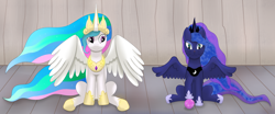 Size: 3848x1600   Tagged: safe, artist:sane, princess celestia, princess luna, alicorn, cat, spoiler:mlp friendship is forever, catified, female, females only, siblings, sisters, sitting, species swap, transformation