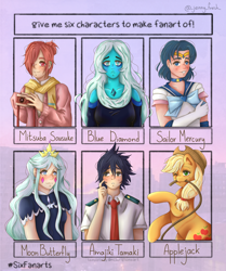 Size: 2004x2400 | Tagged: safe, artist:jemidins, applejack, earth pony, human, pony, six fanarts, amajiki tamaki, blue diamond (steven universe), blushing, clothes, crossover, female, gloves, hat, long gloves, mare, moon butterfly, mouth hold, my hero academia, necktie, rope, sailor mercury, sailor moon, star vs the forces of evil, steven universe, toilet-bound hanako-kun