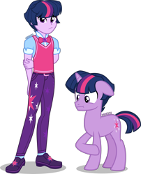 Size: 3233x4000 | Tagged: safe, artist:orin331, sci-twi, twilight sparkle, pony, unicorn, equestria girls, :t, arm behind back, bowtie, clothes, cutie mark, cutie mark on clothes, dusk shine, equestria girls ponified, equestria guys, floppy ears, geode of telekinesis, high res, human ponidox, magical geodes, male, missing accessory, no glasses, pants, raised hoof, rule 63, sci-dusk, self paradox, self ponidox, shirt, shoes, simple background, stallion, sweater vest, transparent background, unicorn sci-dusk, unicorn sci-twi