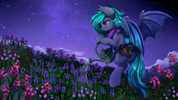 Size: 2920x1642 | Tagged: safe, artist:pridark, oc, oc only, bat pony, pony, bat pony oc, bat wings, commission, flying, mountain, night, night sky, scenery, sky, solo, stars, watering can, wings