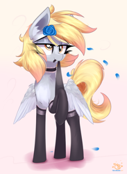 Size: 2888x3945 | Tagged: safe, artist:nevobaster, derpy hooves, pegasus, abstract background, adorasexy, black socks, clothes, cute, derp, female, flower, flower in hair, mare, mouth hold, pale belly, sexy, socks, stockings, stupid sexy derpy, thigh highs, two toned wings, wings