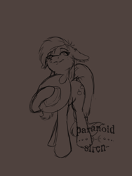 Size: 1200x1600   Tagged: safe, artist:paranoid_siren, applejack, earth pony, pony, female, hoof hold, lineart, mare, solo