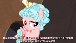 Size: 1280x720 | Tagged: safe, edit, edited screencap, editor:jaredking203, screencap, cozy glow, pegasus, pony, frenemies (episode), bow, caption, female, filly, freckles, image macro, meme, red eyes, solo, text