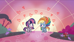 Size: 1920x1080 | Tagged: safe, edit, edited screencap, screencap, rainbow dash, twilight sparkle, alicorn, pegasus, pony, my little pony: pony life, the fast and the furriest, spoiler:pony life s01e11, /mlp/, blushing, butt, female, floating heart, heart, lesbian, plot, shipping, twidash, twilight sparkle (alicorn)