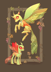 Size: 2894x4093 | Tagged: safe, artist:shore2020, clypeus, changedling, changeling, duo, flower, flying, smiling, spread wings, wings