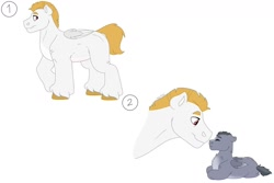 Size: 1280x854 | Tagged: safe, artist:itstechtock, bulk biceps, oc, pegasus, pony, baby, baby pony, father and child, father and son, male, offspring, parent:bulk biceps, parent:limestone pie, parents:limebulk, simple background, white background
