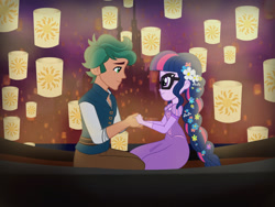 Size: 2400x1800 | Tagged: safe, artist:cxpcakes, sci-twi, timber spruce, twilight sparkle, equestria girls, beautiful, cute, digital art, disney, disney princess, duo, female, flower, flower in hair, flynn rider, i see the light, lantern, looking at each other, male, rapunzel, shipping, straight, tangled (disney), timberbetes, timbertwi, twiabetes