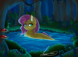 Size: 2750x2030 | Tagged: safe, artist:shadowdash44, fluttershy, pegasus, pony, bush, cheek fluff, chest fluff, ear fluff, female, forest, high res, looking at you, mare, mushroom, outdoors, pond, smiling, solo, stray strand, three quarter view, tree, water, wings