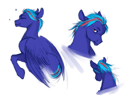 Size: 1600x1200 | Tagged: safe, alternate version, artist:kitmurade, oc, oc:hellfire, horse, pegasus, alternate hairstyle, blue fur, colt, foal, head, male, red eyes, stallion, wings, young