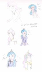 Size: 720x1235 | Tagged: safe, artist:wrath-marionphauna, princess celestia, princess luna, human, :c, >:c, angry, cape, clothes, colored pencil drawing, comic, crown, cute, dress, ear piercing, earring, eyes closed, frown, humanized, jewelry, moon, necklace, one eye closed, piercing, pink-mane celestia, regalia, s1 luna, sad, smiling, traditional art, wink, yelling, young celestia, young luna, ò3ó