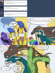 Size: 2562x3346 | Tagged: safe, artist:professor-ponyarity, oc, oc only, oc:amelia, oc:arrowhead, oc:color flare, oc:nors, oc:rye, alicorn, bat pony, dragon, tumblr:ask rye dimar dragon, dimar: lost waters, female, headphones, luuko, magic, mare, olitar, royal guard