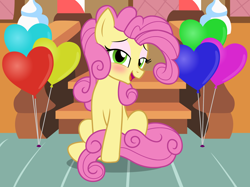 Size: 2554x1915 | Tagged: safe, artist:badumsquish, derpibooru exclusive, li'l cheese, earth pony, pony, the last problem, balloon, curly mane, curly tail, femboy, flirty, girly, heart, looking at you, makeup, male, older, older li'l cheese, open mouth, show accurate, sitting, smiling, solo, stairs, stallion, strategically covered, sugarcube corner, tail censor, trap