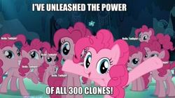 Size: 1280x720 | Tagged: safe, edit, edited screencap, screencap, pinkie pie, earth pony, too many pinkie pies, caption, cave, cave pool, clone, doctor coomer, female, half-life, half-life vr but the ai is self-aware, image macro, impact font, implied twilight sparkle, meme, mirror pool, multeity, pinkie clone, text, that cute clone, the fourth wall cannot save you, too much pink energy is dangerous, xk-class end-of-the-world scenario