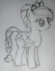 Size: 586x760 | Tagged: safe, artist:wrath-marionphauna, applejack, crystal pony, the crystal empire, alternate hairstyle, braid, braided tail, jewelry, pencil drawing, scene interpretation, smiling, solo, tiara, traditional art