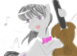 Size: 1366x990 | Tagged: safe, artist:tutinoke3461, octavia melody, bow (instrument), bowtie, cello, cello bow, collar, digital art, music, musical instrument, open mouth, playing instrument, sketch, smiling, solo