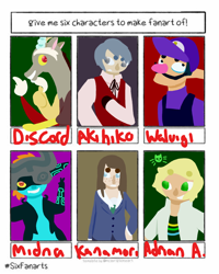 Size: 800x1000 | Tagged: safe, artist:starburstdragon, discord, draconequus, human, imp, six fanarts, akihiko sanada, clothes, crossover, female, hat, helmet, keep your hands off eizouken!, male, midna, overalls, persona 3, smiling, the legend of zelda, the legend of zelda: twilight princess, waluigi