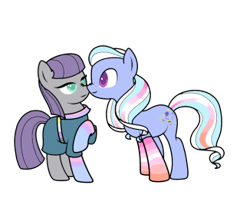 Size: 326x284 | Tagged: safe, artist:icey-wicey-1517, artist:kb-gamerartist, color edit, edit, maud pie, sugarcoat, earth pony, pony, belt, bisexual pride flag, boop, clothes, collaboration, colored, dress, equestria girls ponified, female, lesbian, lesbian pride flag, mare, maudcoat, nonbinary, nonbinary pride flag, noseboop, ponified, pride, pride flag, raised hoof, shipping, simple background, socks, striped socks, transparent background