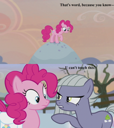 Size: 1280x1440 | Tagged: safe, edit, edited screencap, screencap, limestone pie, pinkie pie, hearthbreakers, angry, holder's boulder, lyrics, mc hammer, rock farm, song reference, text, tree, u can't touch this