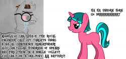 Size: 1523x714 | Tagged: safe, artist:whiskey, edit, oc, oc only, oc:lily glamerspear, oc:valiant kilfeather, pegasus, pony, unicorn, /mlp/, 4chan, brrrrt, clothes, crying, everyday life with guardsmares, female, glasses, haha money printer go brrr, male, meme, money printer go brrr, royal guard, sketch, top gun, wojak