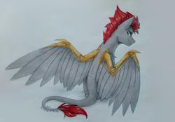 Size: 3216x2234 | Tagged: safe, artist:dorkmark, oc, oc only, oc:tan, oc:tan-dreamstiller, pegasus, pony, commission, male, photo, prosthetics, solo, stallion, traditional art