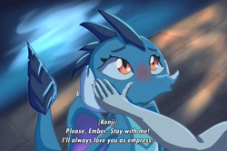 Size: 1280x854 | Tagged: safe, artist:chiptunebrony, princess ember, oc, oc:kenji the human, dragon, human, affection, anime, beautiful, blushing, cellshaded, cute, dialogue, dialogue in the description, dragon lord ember, dragoness, duckface, emberbetes, fake screenshot, female, hands on cheeks, harbor, looking at someone, looking up, moon, plank, reflection, romance, sad, subtitles, water