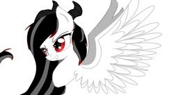 Size: 1505x825 | Tagged: safe, artist:kiwwsplash, oc, oc only, demon, demon pony, original species, pony, bust, grin, red eyes, simple background, smiling, smirk, solo, white background, wings