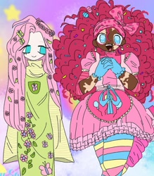 Size: 1080x1232 | Tagged: safe, artist:king.hotd, fluttershy, pinkie pie, human, :d, abstract background, clothes, dark skin, dress, duo, gloves, hands together, humanized, open mouth, smiling, vitiligo