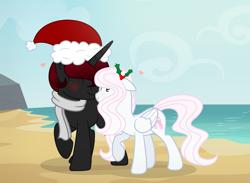 Size: 2409x1761 | Tagged: safe, artist:darbypop1, oc, oc only, oc:bella bambina, oc:mystery teller, pegasus, pony, beach, christmas, female, hat, holiday, holly, male, mare, nuzzling, santa hat, stallion