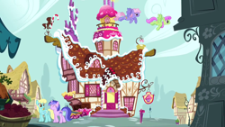 Size: 1280x720 | Tagged: safe, screencap, merry may, rainbowshine, sassaflash, sea swirl, seafoam, pegasus, pony, unicorn, too many pinkie pies, background pony, building, female, flying, mare, ponyville, sugarcube corner, walking