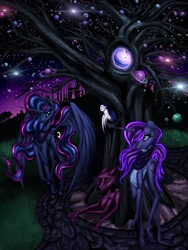 Size: 2448x3264 | Tagged: safe, artist:techwingidustries, princess luna, oc, oc:noctura, oc:selene, oc:vulpecula, alicorn, bird, fox, owl, unicorn, clothes, night, planet, scarf, stars, tree