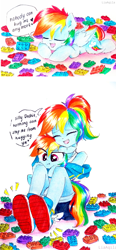 Size: 797x1719 | Tagged: safe, artist:liaaqila, edit, rainbow dash, human, pegasus, pony, equestria girls, blue wings, challenge accepted, clothes, comic strip, cute, cutie mark, daaaaaaaaaaaw, dashabetes, denim shorts, dialogue, eyes closed, fail, female, floating heart, heart, hug, human ponidox, indoors, lego, liaaqila is trying to murder us, lying down, mare, multicolored hair, multicolored mane, multicolored tail, no socks, open mouth, pink eyes, ponytail, rainbow hair, rainbow tail, scrunchy face, self ponidox, shoes, shorts, simple background, sitting, smiling, sneakers, speech bubble, talking, tempting fate, text, traditional art, unamused, watermark, white background, wings
